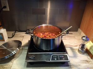 A pot of chili on the induction burner