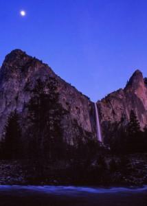Moonrise over (I think) Bridalveil Fall, Yosemite National Park