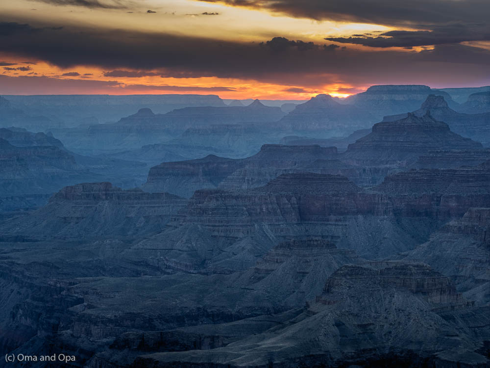 Sunset over the canyon, from an overlook near Desert View