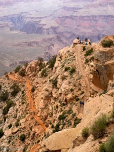 Ooh-ahh point on the South Kaibab trail. Ooh-ahh Point is where the people are congregated.
