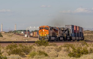 A westbound BNSF double stack train leaving xxxx.