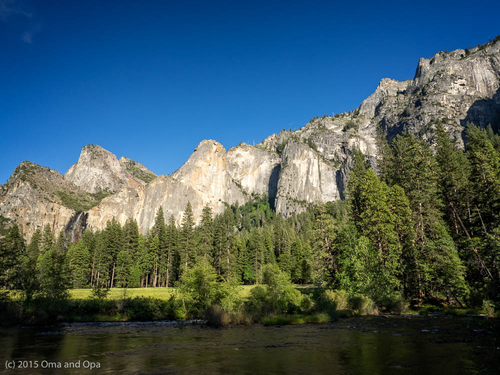 Valley floor view across Merced River