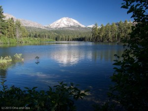 Lassen Peak reflected in Manzanita Lake