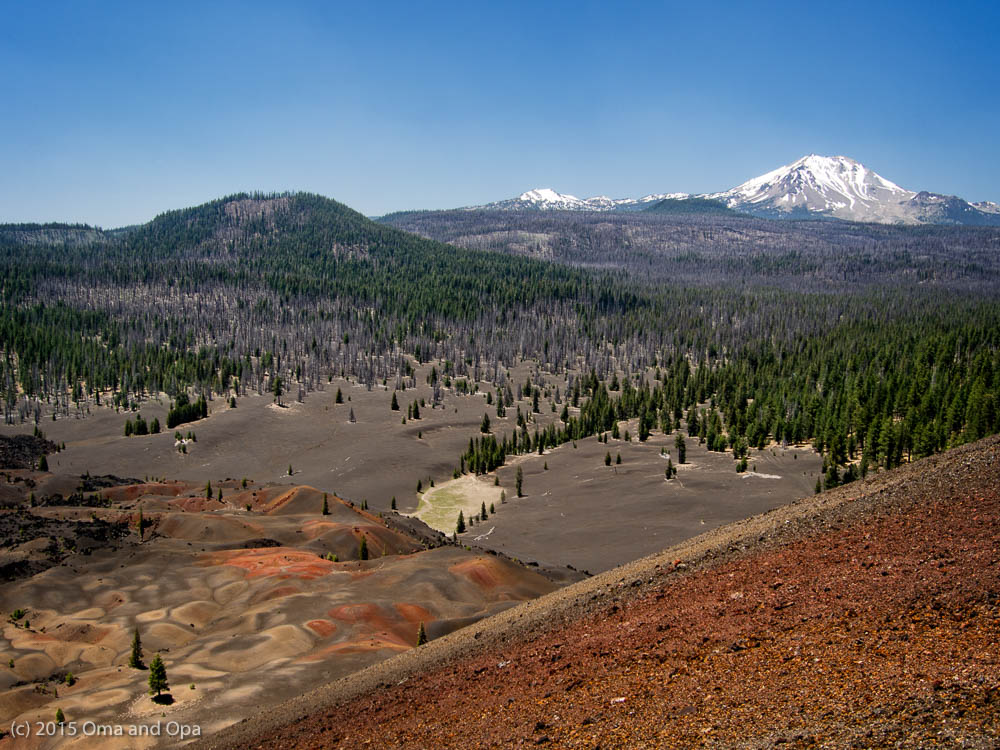 One of the views from the top of the volcano. The painted dunes are at left with Mt. Lassen visible in the background.