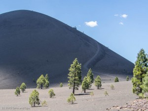 The cinder cone volcano and a portion of the trail to the top