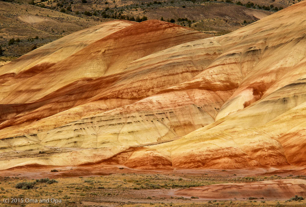 A close-up of the Painted Hills