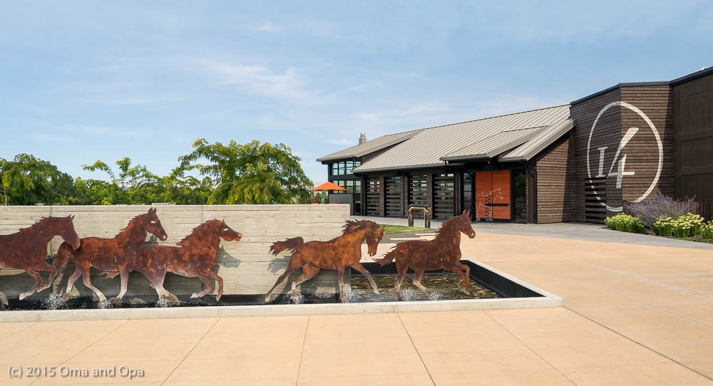 Many of the Prosser wineries, including 14 hands, get grapes from the nearby Horse Heaven Hills AVA. 14 Hands went all out with the horse motif, including the mural at the top of the page.