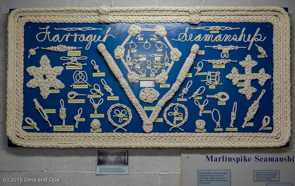 An item in the Brig Museum, created at the camp and demonstrating the importance of knots to seamen.