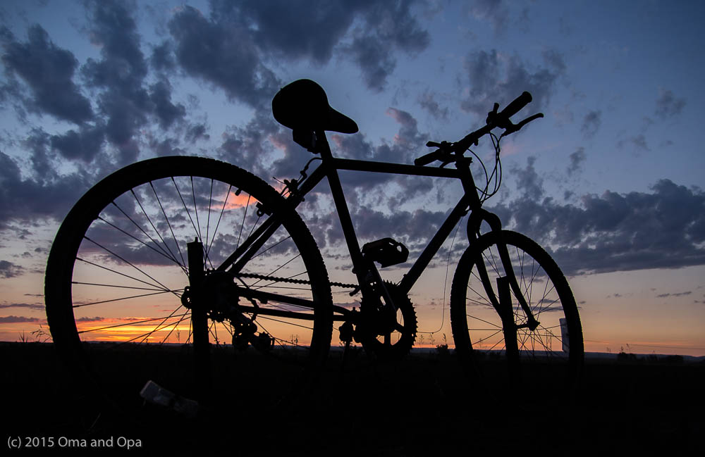 "The campground was pretty much surrounded by plains. However, ""bicycle art"" surrounded the campground and made for a nice foreground to our sunset picture."