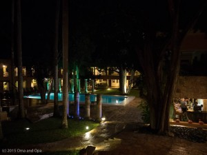 The hotel, pool and bar area at Hotel Uxmal