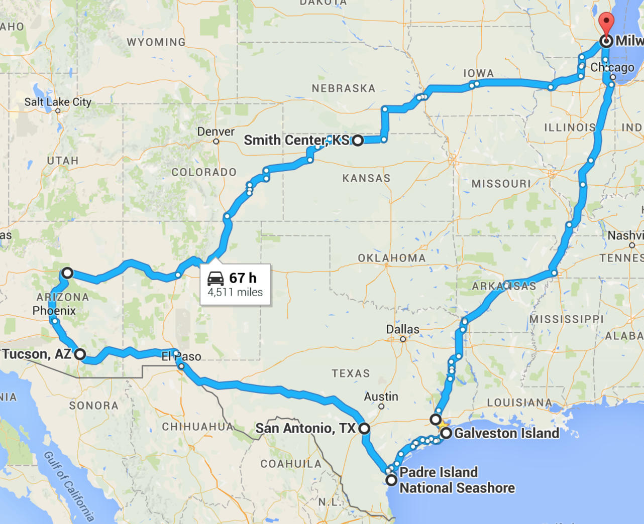 Approximate route for this trip