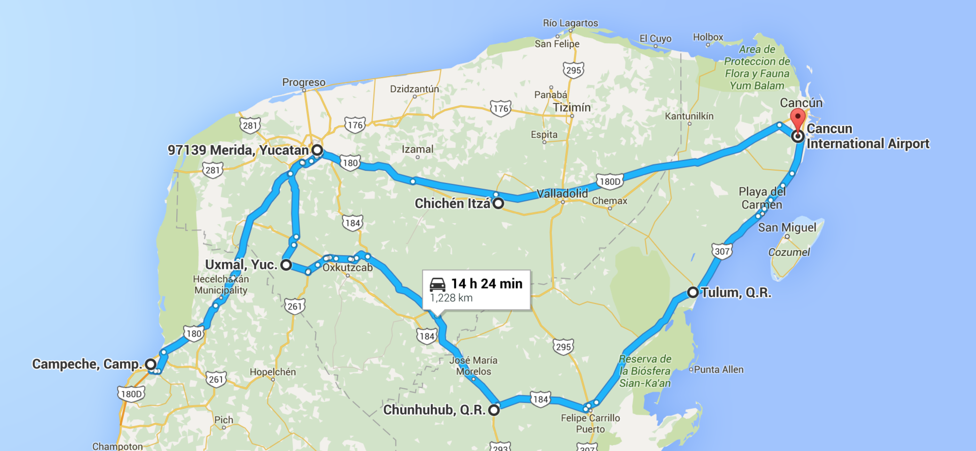 Our route through the Yucatan. Note that while we flew in/out of Cancun, we did not stay there.