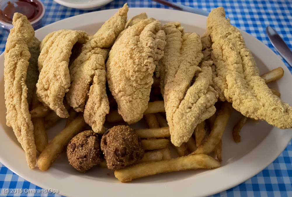 Catfish, fries and hush puppies - it was enough for three lunches