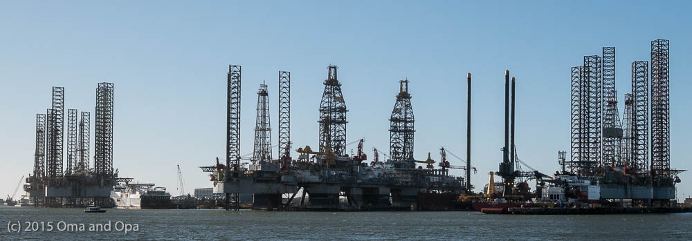 There was a fair amount of oil equipment in Galveston harbor, presumably due to the oil bust