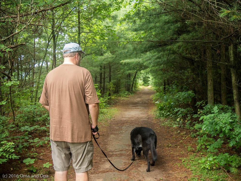 Opa and Coda along the Lake Trail