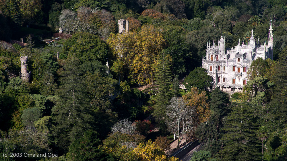 A view of a portion of the grounds of Quinta Regaleira of Sintra. Most of the grounds are hidden by foliage.