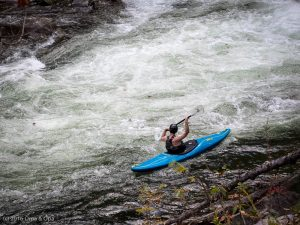 A kayaker in an eddy on the Nantahala river